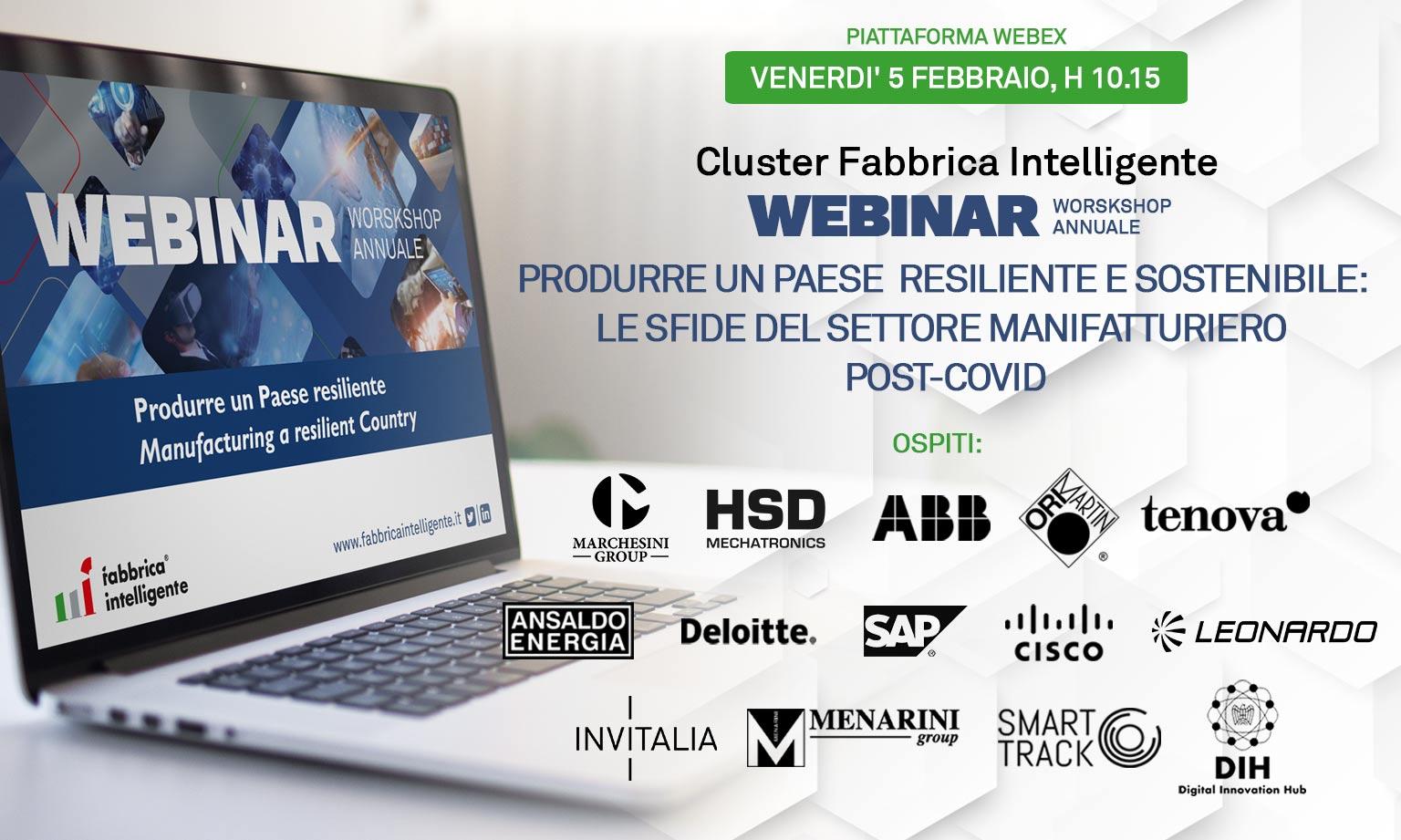 Produrre un paese sostenibile e resiliente: tutti i lettori invitati il 5 febbraio al workshop del Cluster Fabbrica Intelligente